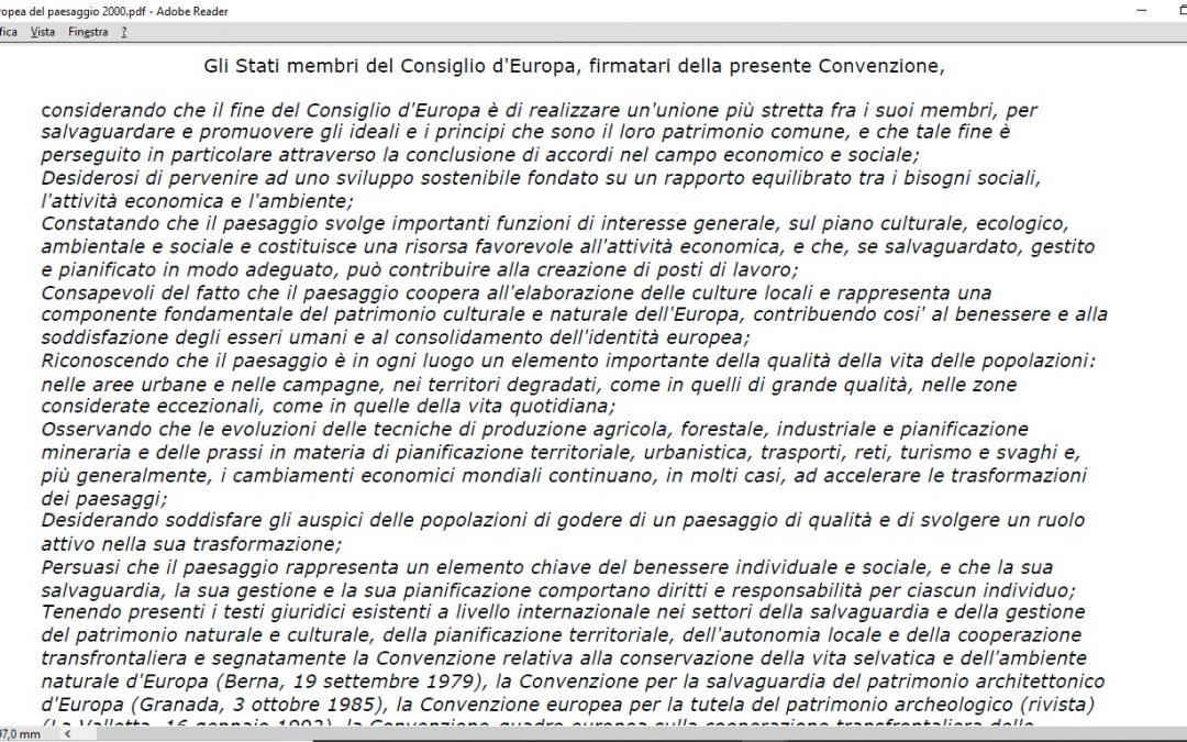 Convenzione Europea del Paesaggio – Firenze – 20-10-2000